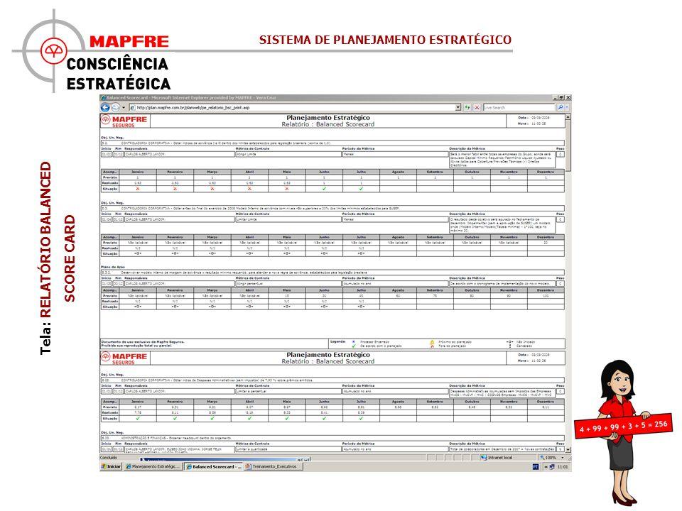 Tela: RELATÓRIO BALANCED SCORE CARD SISTEMA DE PLANEJAMENTO ESTRATÉGICO