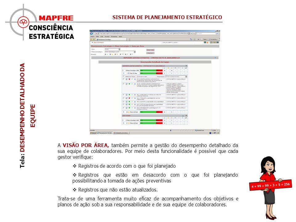 Tela: DESEMPENHO DETALHADO DA EQUIPE A VISÃO POR ÁREA, também permite a gestão do desempenho detalhado da sua equipe de colaboradores.