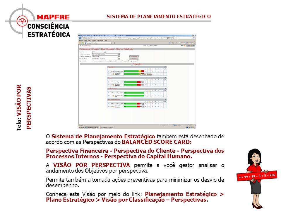 Tela: VISÃO POR PERSPECTIVAS O Sistema de Planejamento Estratégico também está desenhado de acordo com as Perspectivas do BALANCED SCORE CARD: Perspec