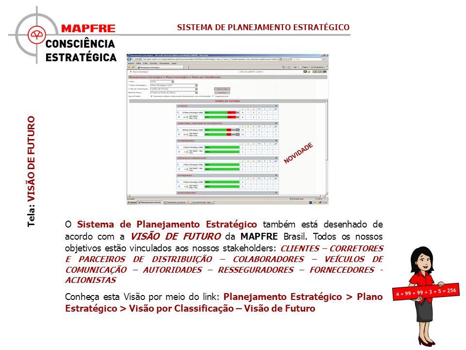 Tela: VISÃO DE FUTURO NOVIDADE O Sistema de Planejamento Estratégico também está desenhado de acordo com a VISÃO DE FUTURO da MAPFRE Brasil.