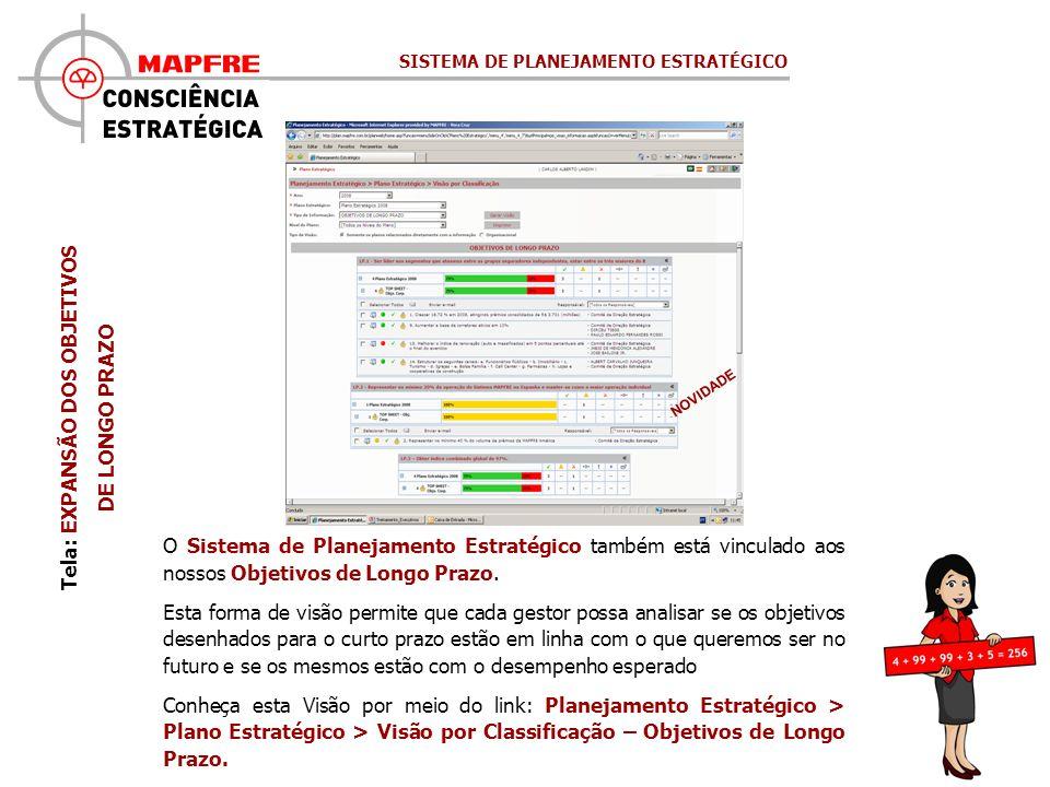 Tela: EXPANSÃO DOS OBJETIVOS DE LONGO PRAZO NOVIDADE O Sistema de Planejamento Estratégico também está vinculado aos nossos Objetivos de Longo Prazo.