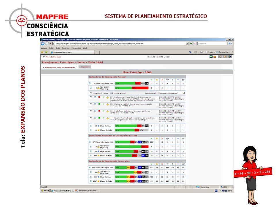 Tela: EXPANSÃO DOS PLANOS SISTEMA DE PLANEJAMENTO ESTRATÉGICO