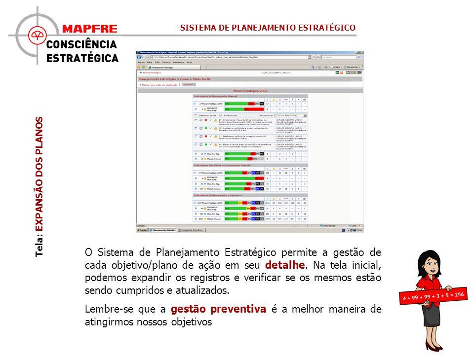 O Sistema de Planejamento Estratégico permite a gestão de cada objetivo/plano de ação em seu detalhe. Na tela inicial, podemos expandir os registros e