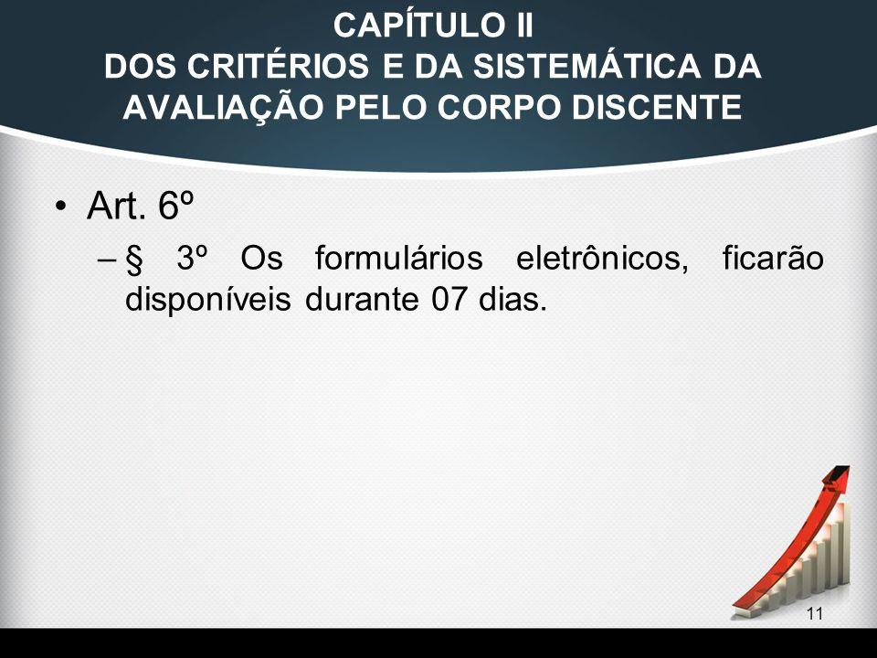 11 CAPÍTULO II DOS CRITÉRIOS E DA SISTEMÁTICA DA AVALIAÇÃO PELO CORPO DISCENTE Art. 6º –§ 3º Os formulários eletrônicos, ficarão disponíveis durante 0
