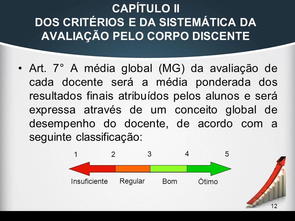 12 CAPÍTULO II DOS CRITÉRIOS E DA SISTEMÁTICA DA AVALIAÇÃO PELO CORPO DISCENTE Art. 7° A média global (MG) da avaliação de cada docente será a média p