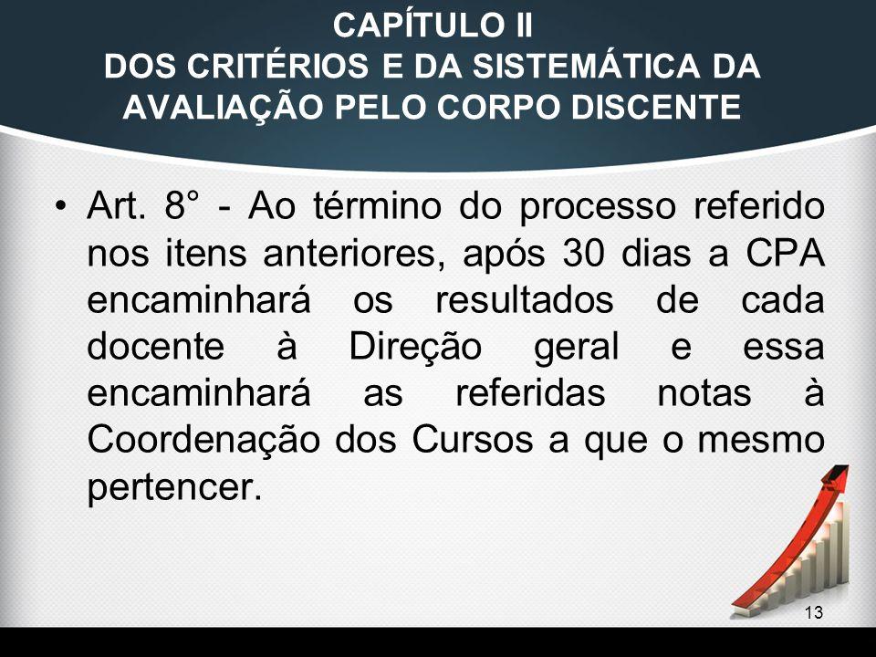 13 CAPÍTULO II DOS CRITÉRIOS E DA SISTEMÁTICA DA AVALIAÇÃO PELO CORPO DISCENTE Art. 8° - Ao término do processo referido nos itens anteriores, após 30