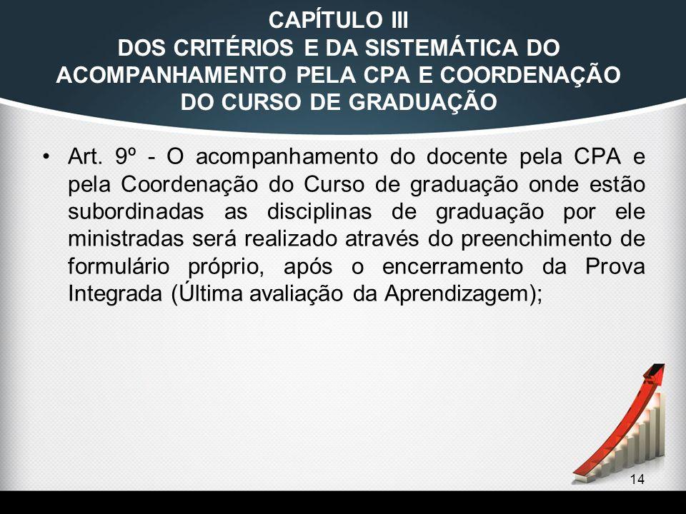 14 CAPÍTULO III DOS CRITÉRIOS E DA SISTEMÁTICA DO ACOMPANHAMENTO PELA CPA E COORDENAÇÃO DO CURSO DE GRADUAÇÃO Art. 9º - O acompanhamento do docente pe