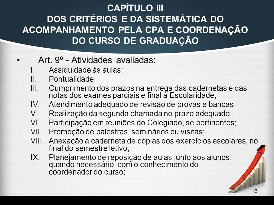 15 CAPÍTULO III DOS CRITÉRIOS E DA SISTEMÁTICA DO ACOMPANHAMENTO PELA CPA E COORDENAÇÃO DO CURSO DE GRADUAÇÃO Art. 9º - Atividades avaliadas: I.Assidu