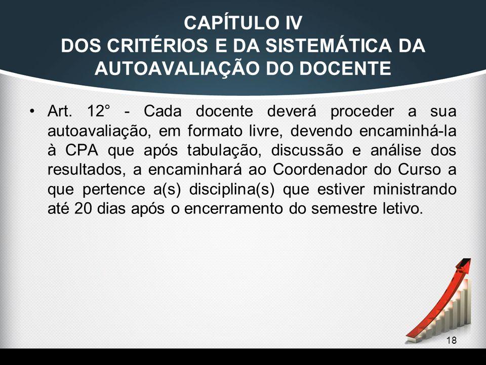 18 CAPÍTULO IV DOS CRITÉRIOS E DA SISTEMÁTICA DA AUTOAVALIAÇÃO DO DOCENTE Art. 12° - Cada docente deverá proceder a sua autoavaliação, em formato livr