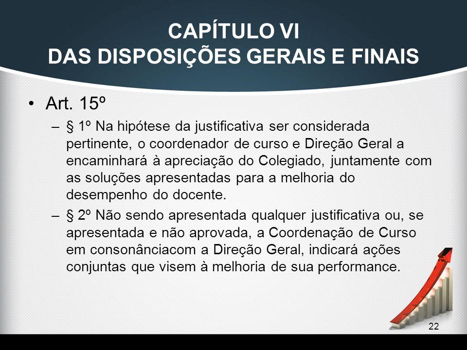 22 CAPÍTULO VI DAS DISPOSIÇÕES GERAIS E FINAIS Art. 15º –§ 1º Na hipótese da justificativa ser considerada pertinente, o coordenador de curso e Direçã