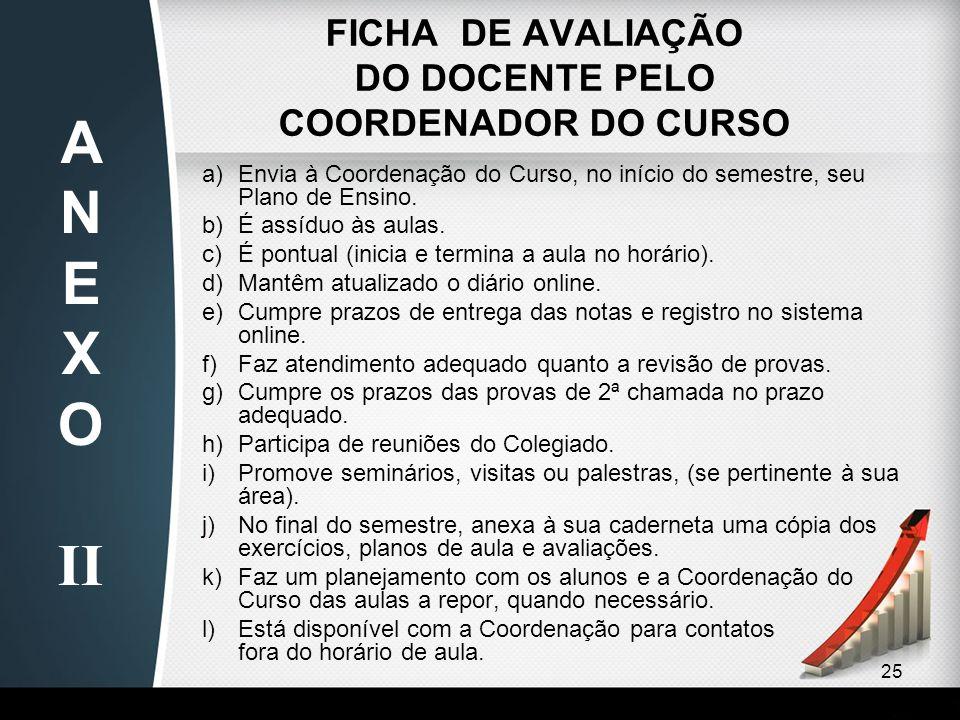 25 FICHA DE AVALIAÇÃO DO DOCENTE PELO COORDENADOR DO CURSO a)Envia à Coordenação do Curso, no início do semestre, seu Plano de Ensino. b)É assíduo às