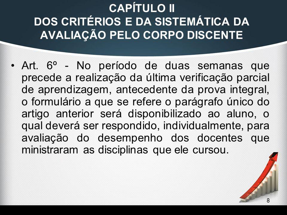 8 CAPÍTULO II DOS CRITÉRIOS E DA SISTEMÁTICA DA AVALIAÇÃO PELO CORPO DISCENTE Art. 6º - No período de duas semanas que precede a realização da última