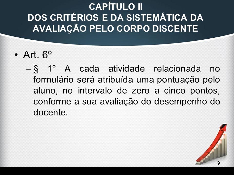 9 CAPÍTULO II DOS CRITÉRIOS E DA SISTEMÁTICA DA AVALIAÇÃO PELO CORPO DISCENTE Art. 6º –§ 1º A cada atividade relacionada no formulário será atribuída