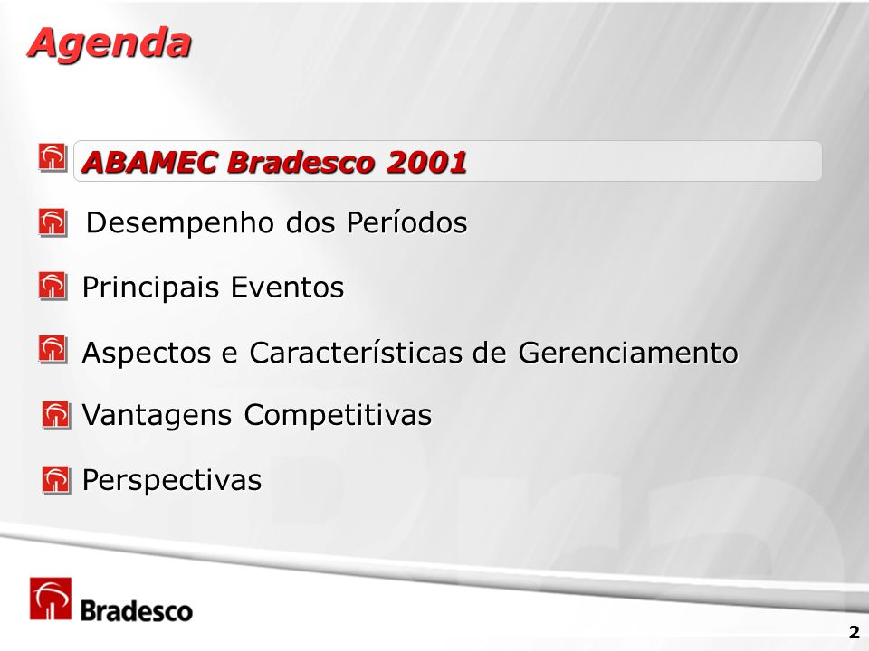 3 Agregar Valor aos Acionistas R$ 849 milhões de JCP/Dividendos relativos ao exercício de 2001 (41% do lucro líquido ajustado) Aquisições - Bancos Mercantil de São Paulo, BEA e Cidade, Carteira de Crédito da Ford, Deutsche Asset Management e Banco Postal Transparência - Prêmio Atlantic Rating 2001 (Categoria Banco de Varejo) 320 Reuniões e Conferências realizadas pela Área de RI NYSE - Listagem em 21 de novembro de 2001 (BBD) Integração dos Back-Offices