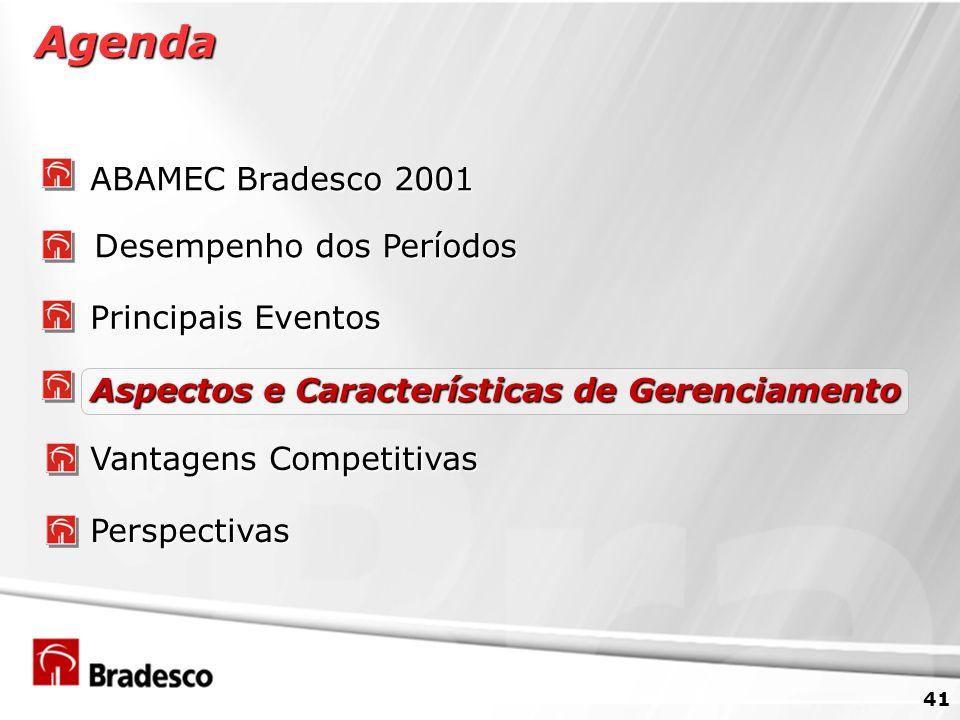 41 Agenda ABAMEC Bradesco 2001 Desempenho dos Períodos Principais Eventos Vantagens Competitivas Aspectos e Características de Gerenciamento Perspectivas
