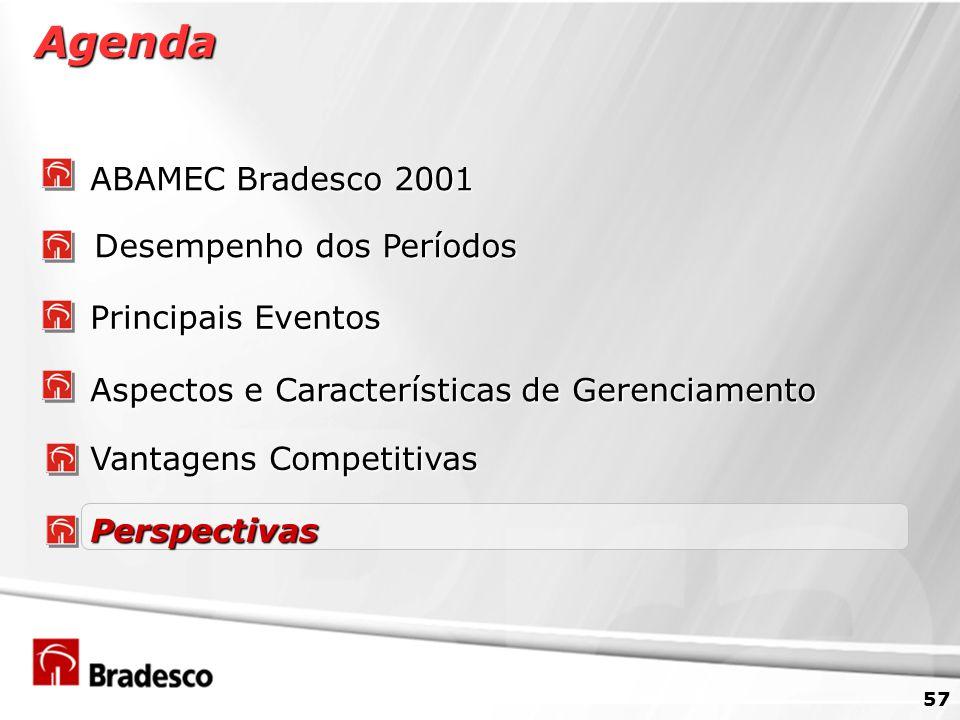 57 Agenda ABAMEC Bradesco 2001 Desempenho dos Períodos Principais Eventos Vantagens Competitivas Aspectos e Características de Gerenciamento Perspectivas