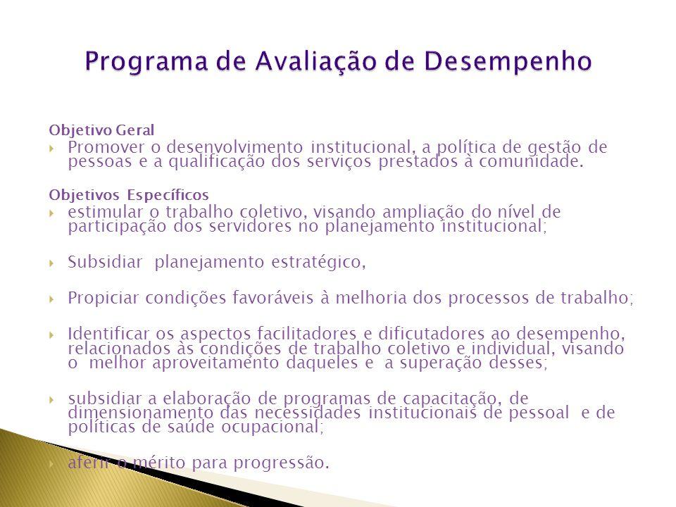 Objetivo Geral  Promover o desenvolvimento institucional, a política de gestão de pessoas e a qualificação dos serviços prestados à comunidade.