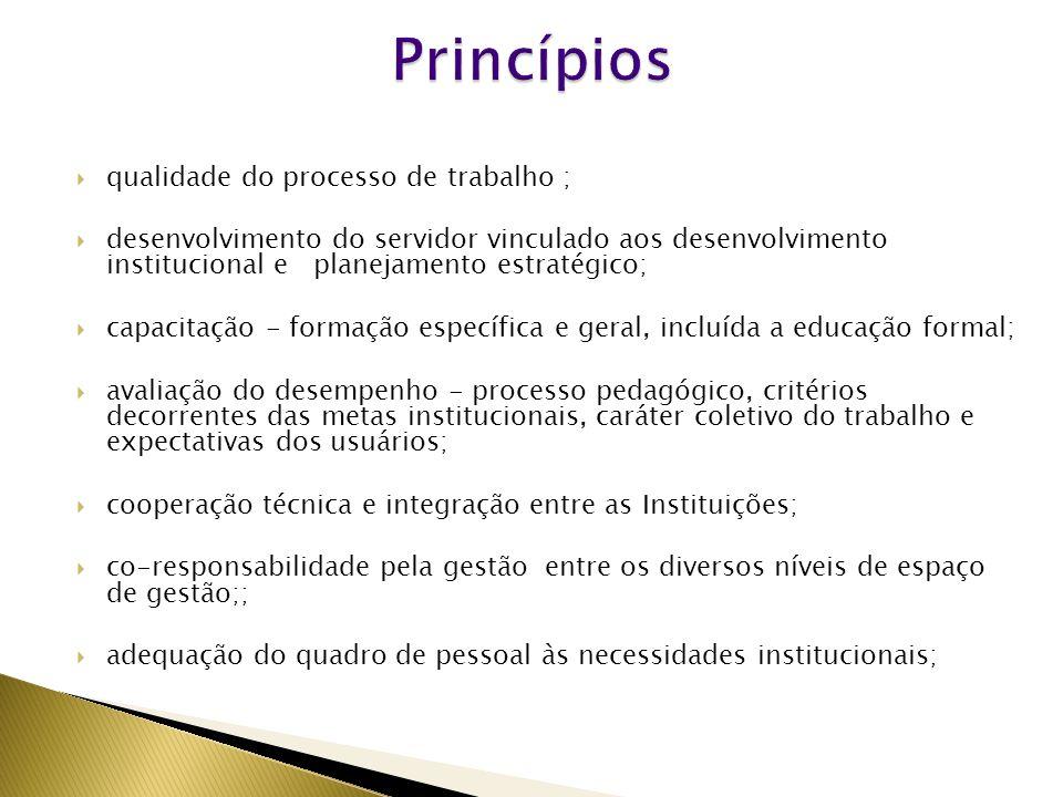  qualidade do processo de trabalho ;  desenvolvimento do servidor vinculado aos desenvolvimento institucional e planejamento estratégico;  capacitação - formação específica e geral, incluída a educação formal;  avaliação do desempenho - processo pedagógico, critérios decorrentes das metas institucionais, caráter coletivo do trabalho e expectativas dos usuários;  cooperação técnica e integração entre as Instituições;  co-responsabilidade pela gestão entre os diversos níveis de espaço de gestão;;  adequação do quadro de pessoal às necessidades institucionais;