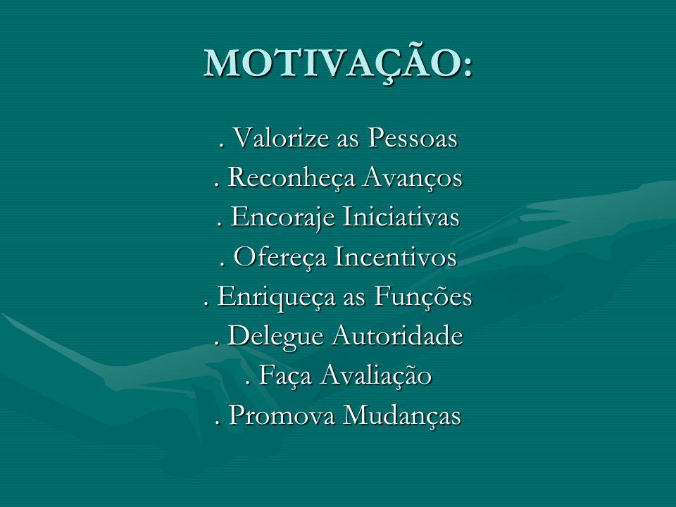 MOTIVAÇÃO:. Valorize as Pessoas. Reconheça Avanços. Encoraje Iniciativas. Ofereça Incentivos. Enriqueça as Funções. Delegue Autoridade. Faça Avaliação