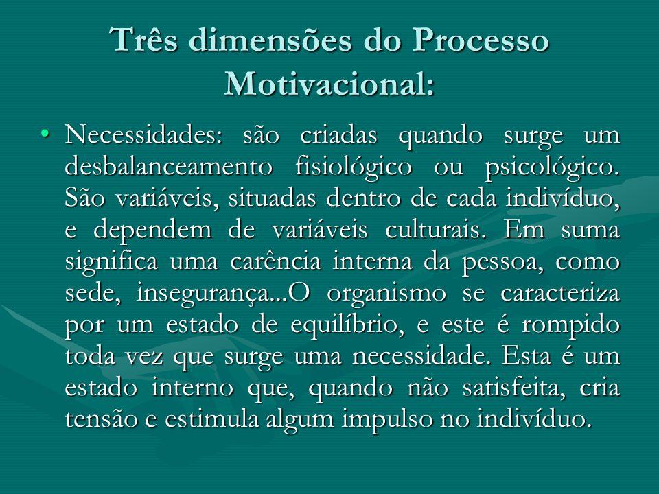 Três dimensões do Processo Motivacional: Necessidades: são criadas quando surge um desbalanceamento fisiológico ou psicológico. São variáveis, situada
