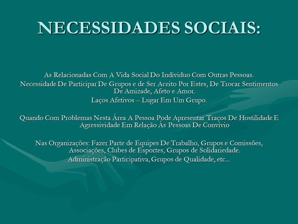 NECESSIDADES SOCIAIS: As Relacionadas Com A Vida Social Do Individuo Com Outras Pessoas. Necessidade De Participar De Grupos e de Ser Aceito Por Estes