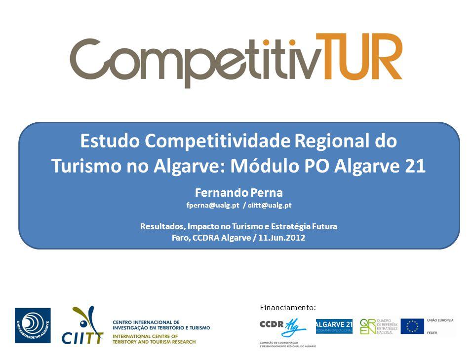 Estudo Competitividade Regional do Turismo no Algarve: Módulo PO Algarve 21 Fernando Perna fperna@ualg.pt / ciitt@ualg.pt Resultados, Impacto no Turismo e Estratégia Futura Faro, CCDRA Algarve / 11.Jun.2012 Financiamento: