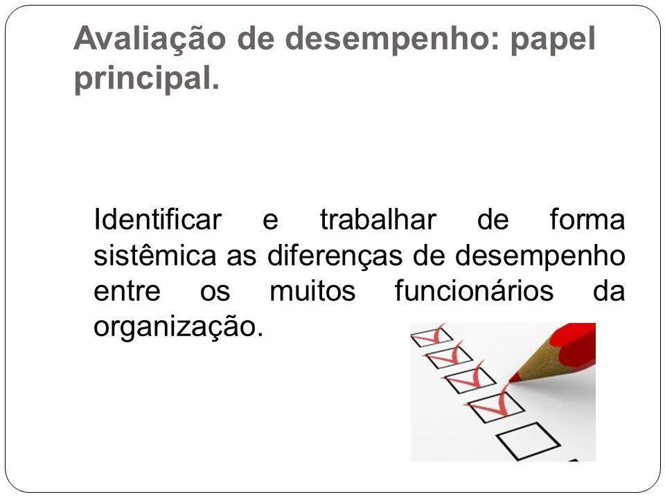 Avaliação de desempenho: papel principal. Identificar e trabalhar de forma sistêmica as diferenças de desempenho entre os muitos funcionários da organ