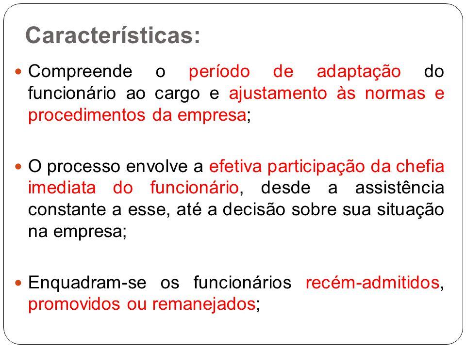 Características: Compreende o período de adaptação do funcionário ao cargo e ajustamento às normas e procedimentos da empresa; O processo envolve a ef