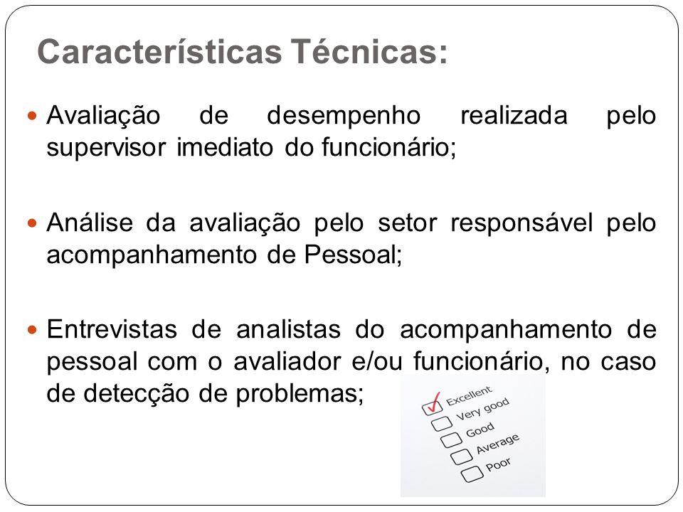 Características Técnicas: Avaliação de desempenho realizada pelo supervisor imediato do funcionário; Análise da avaliação pelo setor responsável pelo