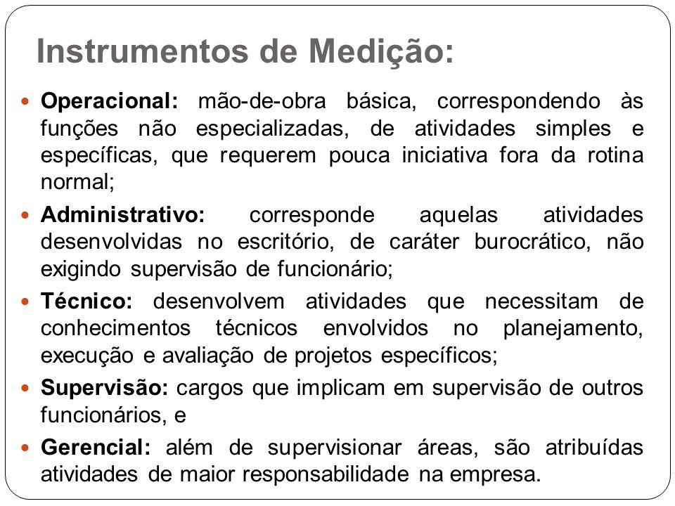 Instrumentos de Medição: Operacional: mão-de-obra básica, correspondendo às funções não especializadas, de atividades simples e específicas, que reque