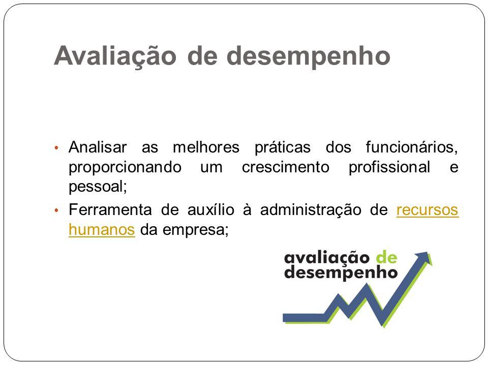 Avaliação de desempenho Analisar as melhores práticas dos funcionários, proporcionando um crescimento profissional e pessoal; Ferramenta de auxílio à