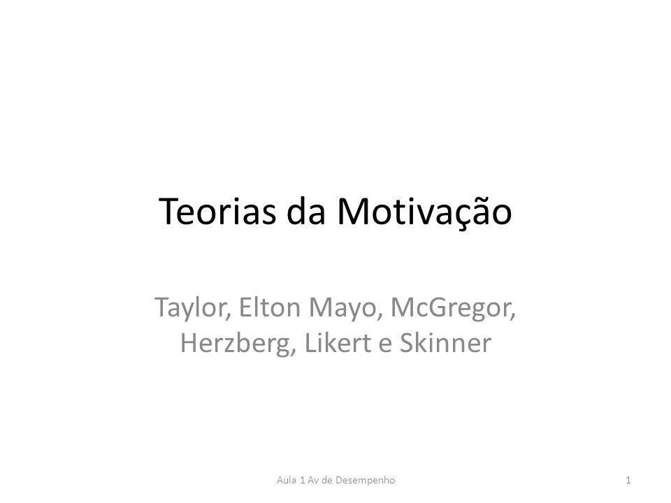 Teorias da Motivação Taylor, Elton Mayo, McGregor, Herzberg, Likert e Skinner 1Aula 1 Av de Desempenho