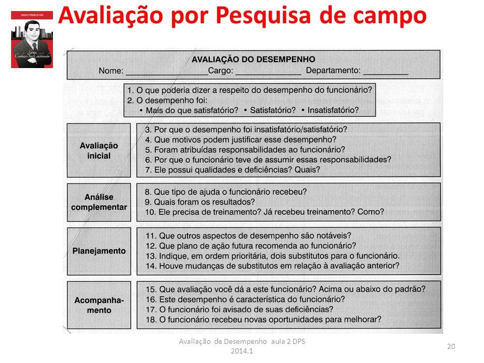 Avaliação por Pesquisa de campo 20 Avaliação de Desempenho aula 2 DPS 2014.1