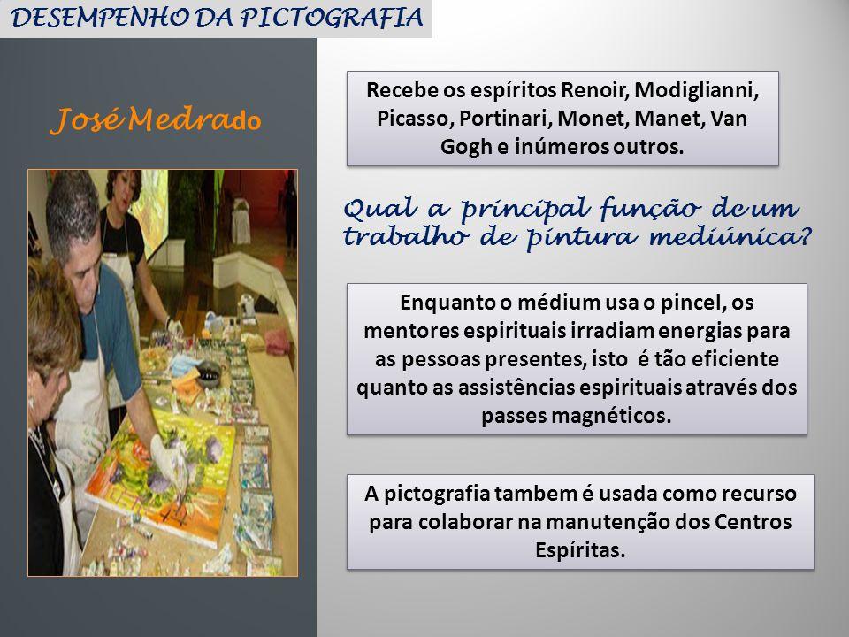 José Medra do Recebe os espíritos Renoir, Modiglianni, Picasso, Portinari, Monet, Manet, Van Gogh e inúmeros outros. DESEMPENHO DA PICTOGRAFIA Qual a
