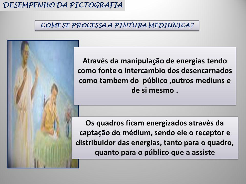 DESEMPENHO DA PICTOGRAFIA COME SE PROCESSA A PINTURA MEDIUNICA? Através da manipulação de energias tendo como fonte o intercambio dos desencarnados co