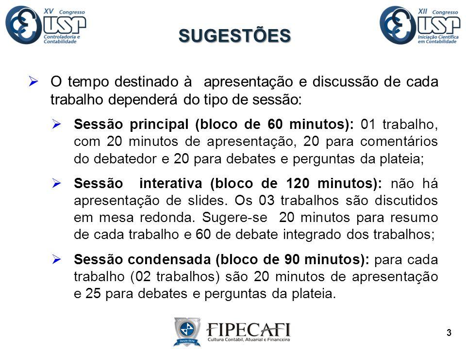 O tempo destinado à apresentação e discussão de cada trabalho dependerá do tipo de sessão:  Sessão principal (bloco de 60 minutos): 01 trabalho, co