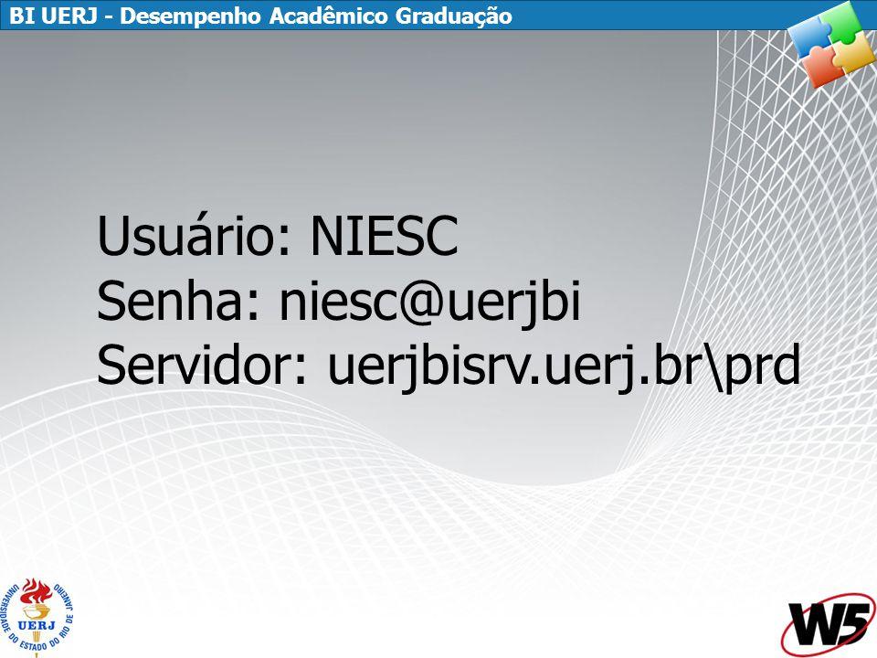 BI UERJ - Desempenho Acadêmico Graduação Usuário: NIESC Senha: niesc@uerjbi Servidor: uerjbisrv.uerj.br\prd