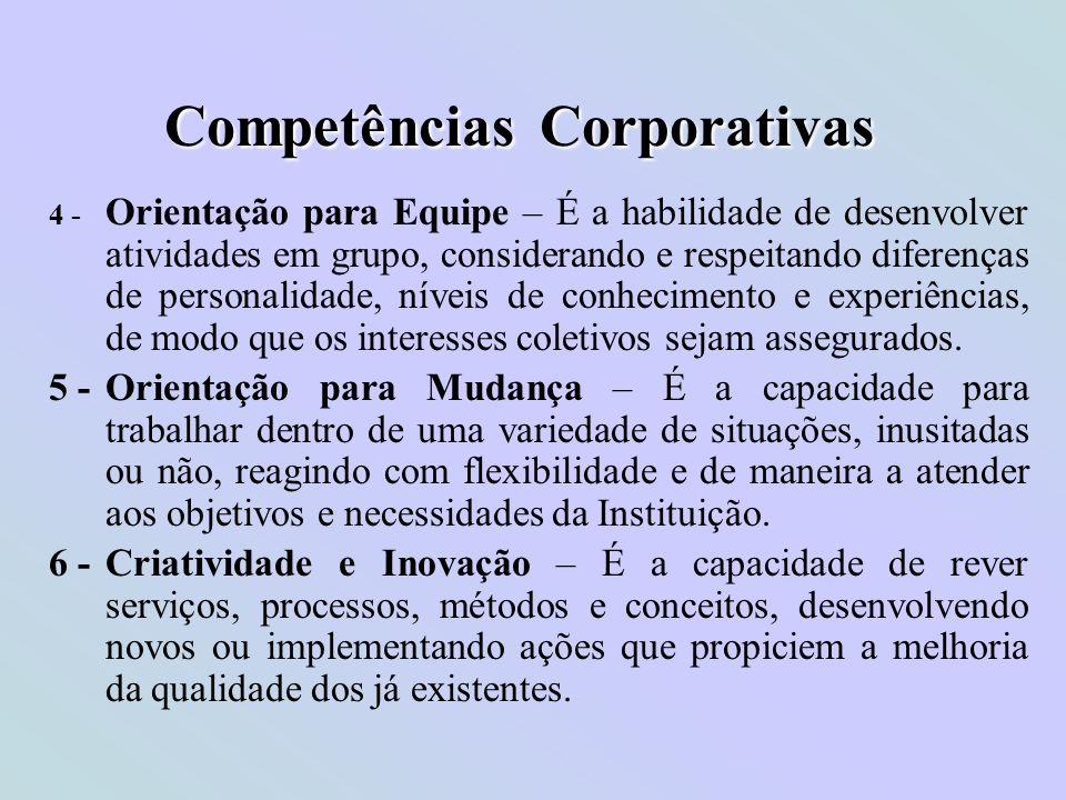 Competências Corporativas 4 - Orientação para Equipe – É a habilidade de desenvolver atividades em grupo, considerando e respeitando diferenças de per