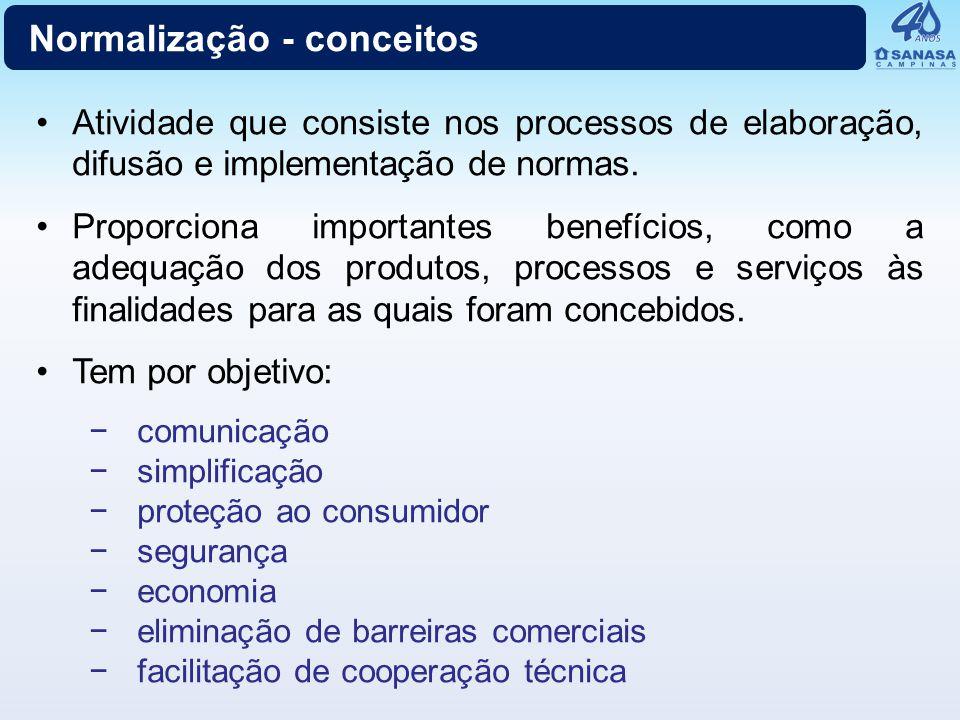 Normalização - conceitos Atividade que consiste nos processos de elaboração, difusão e implementação de normas. Proporciona importantes benefícios, co
