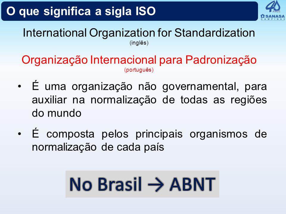 O que significa a sigla ISO É uma organização não governamental, para auxiliar na normalização de todas as regiões do mundo É composta pelos principai