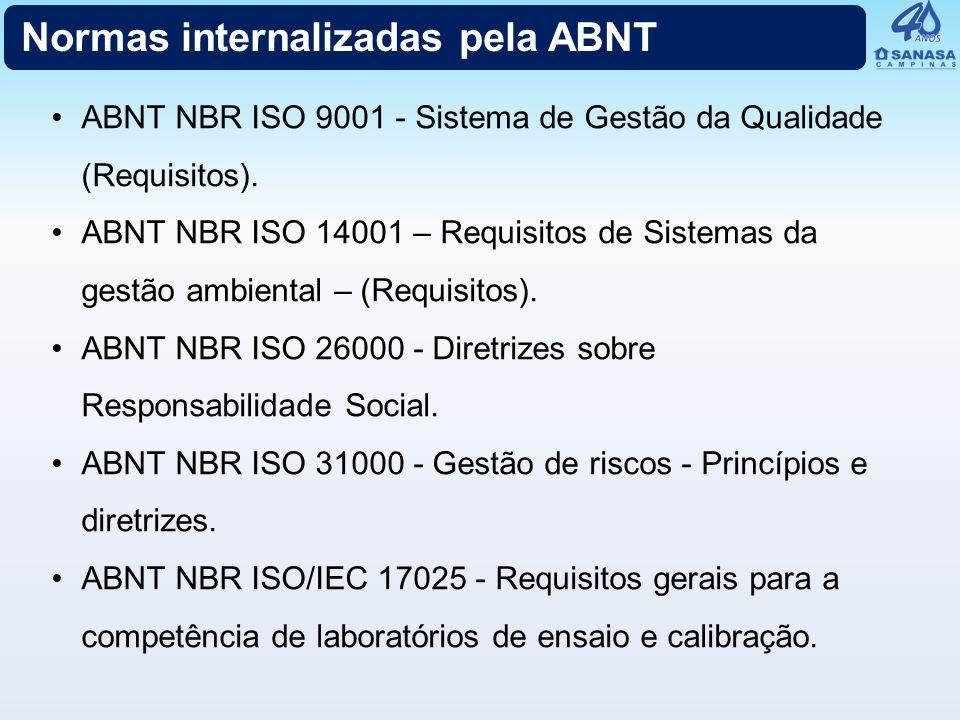 ABNT NBR ISO 9001 - Sistema de Gestão da Qualidade (Requisitos). ABNT NBR ISO 14001 – Requisitos de Sistemas da gestão ambiental – (Requisitos). ABNT