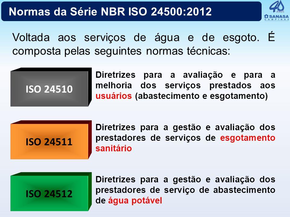 ISO 24510 ISO 24512 Voltada aos serviços de água e de esgoto. É composta pelas seguintes normas técnicas: ISO 24511 Diretrizes para a avaliação e para