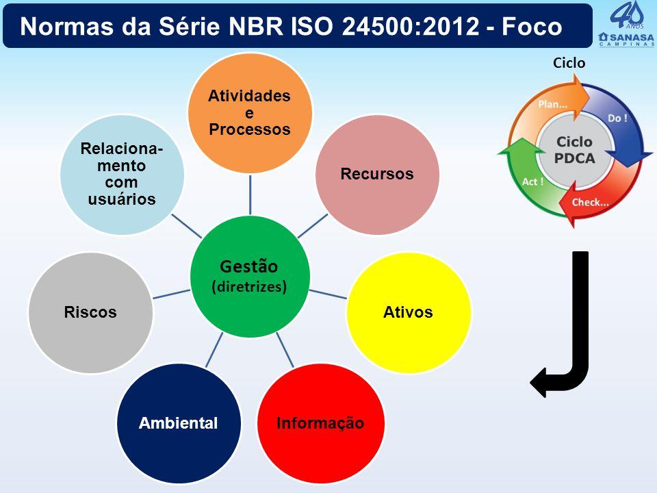 Gestão (diretrizes) Atividades e Processos RecursosAtivosInformaçãoAmbientalRiscos Relaciona- mento com usuários Normas da Série NBR ISO 24500:2012 -