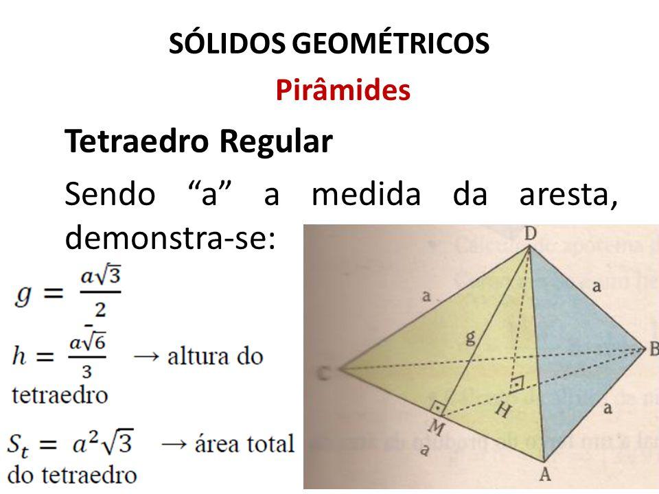 "SÓLIDOS GEOMÉTRICOS Pirâmides Tetraedro Regular Sendo ""a"" a medida da aresta, demonstra-se:"