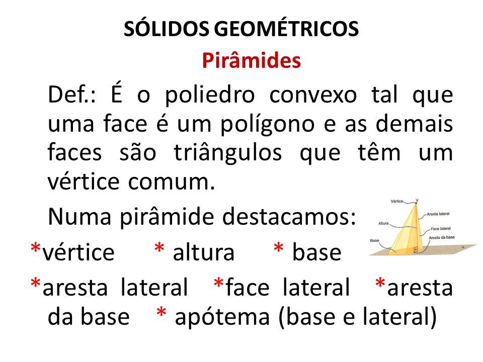 SÓLIDOS GEOMÉTRICOS Pirâmides Pirâmide Regular Para uma pirâmide ser regular, é necessário que ela satisfaça duas condições:  A base deve ser um polígono regular;  A projeção ortogonal do vértice sobre o plano da base coincide com o centro da base.