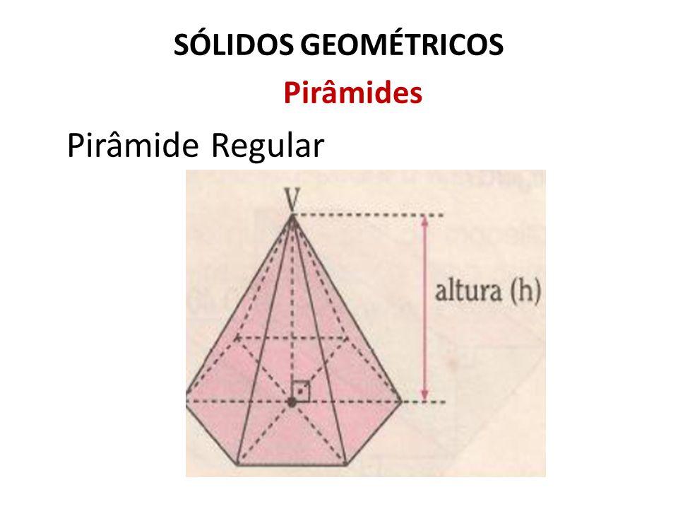 SÓLIDOS GEOMÉTRICOS Pirâmides Exemplo: Numa pirâmide quadrangular regular, a aresta da base mede 8cm.