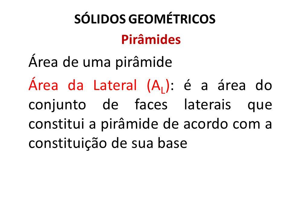SÓLIDOS GEOMÉTRICOS Pirâmides Área de uma pirâmide Área da Lateral (A L ): é a área do conjunto de faces laterais que constitui a pirâmide de acordo c