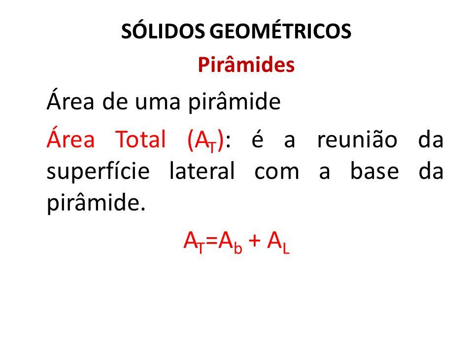 SÓLIDOS GEOMÉTRICOS Pirâmides Área de uma pirâmide Área Total (A T ): é a reunião da superfície lateral com a base da pirâmide. A T =A b + A L