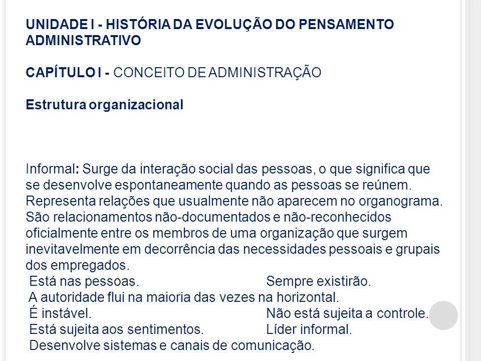 UNIDADE I - HISTÓRIA DA EVOLUÇÃO DO PENSAMENTO ADMINISTRATIVO CAPÍTULO I - CONCEITO DE ADMINISTRAÇÃO Estrutura organizacional Informal: Surge da inter