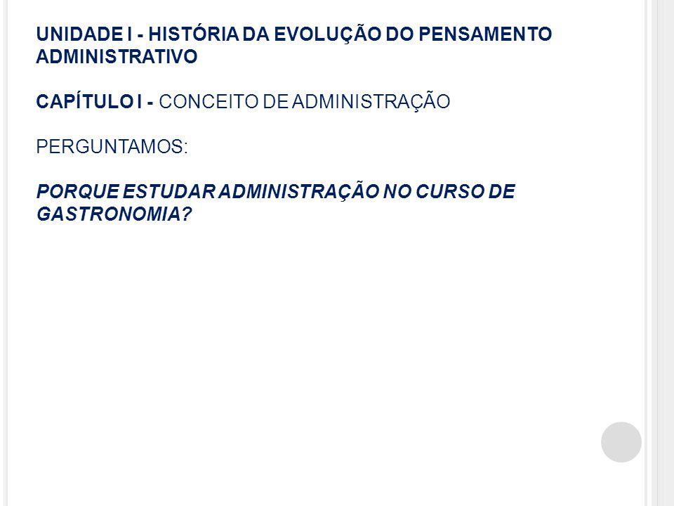 UNIDADE I - HISTÓRIA DA EVOLUÇÃO DO PENSAMENTO ADMINISTRATIVO CAPÍTULO I - CONCEITO DE ADMINISTRAÇÃO PERGUNTAMOS: PORQUE ESTUDAR ADMINISTRAÇÃO NO CURSO DE GASTRONOMIA.